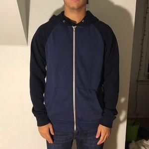 Men's zip up two color hoodie